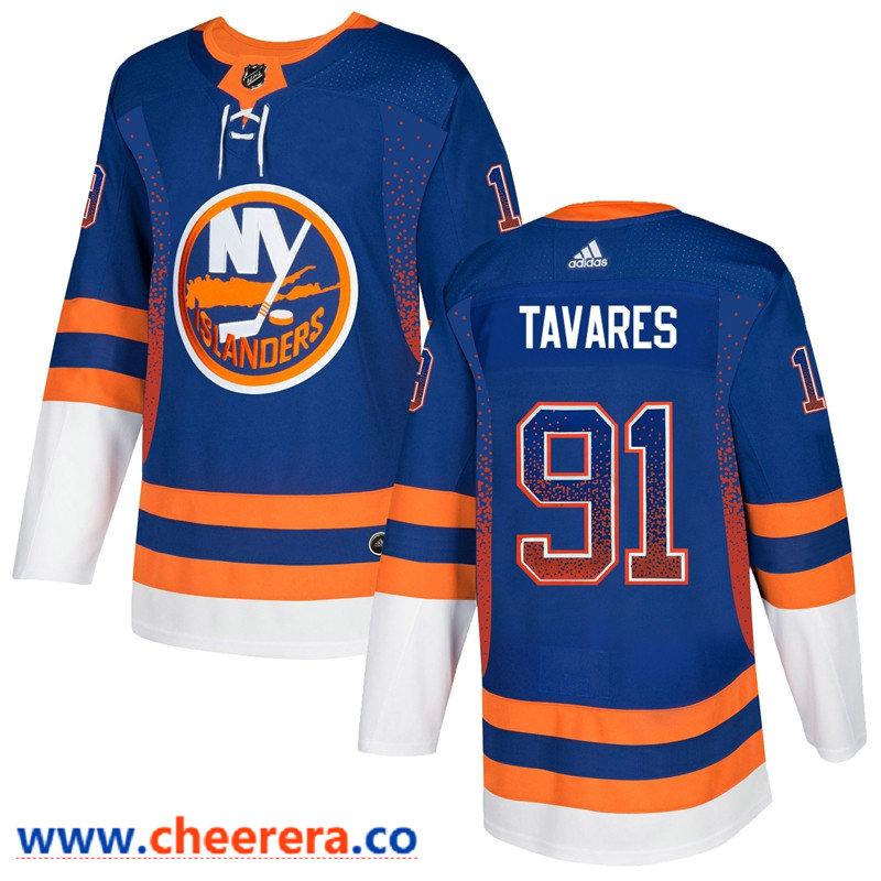 Men's New York Islanders #91 John Tavares Royal Drift Fashion Adidas Jersey