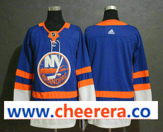 Men's New York Islanders Blank Blue Drift Fashion Adidas Stitched NHL Jersey