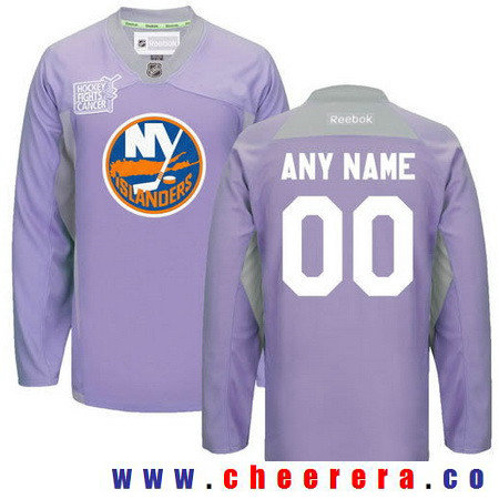 Men's New York Islanders Purple Pink Custom Reebok Hockey Fights Cancer Practice Jersey