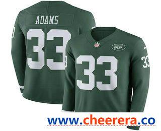 Men's New York Jets #33 Jamal Adams Nike Green Therma Long Sleeve Limited Jersey