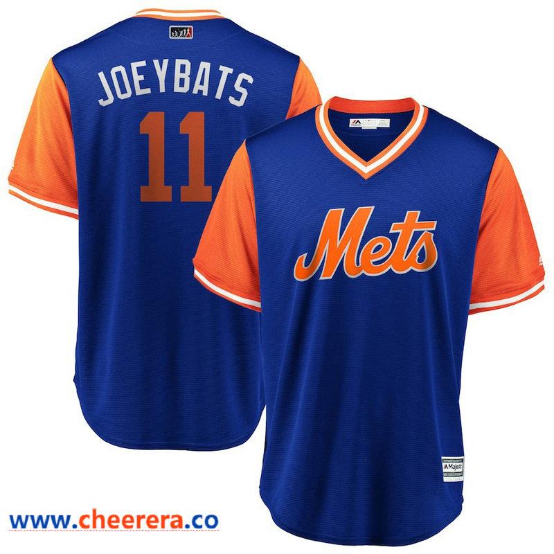 Men's New York Mets Jose Bautista JoeyBats Majestic Royal Orange 2018 Players' Weekend Cool Base Jersey