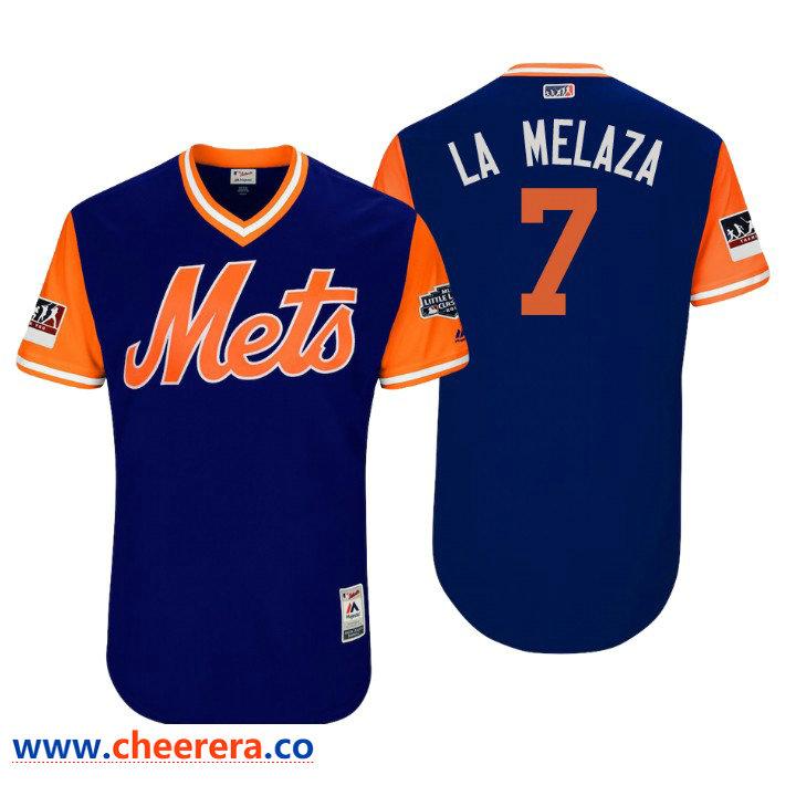 Men's New York Mets Little League Classic Patch Jose Reyes #7 Royal 2018 LLWS Players Weekend La Melaza Jersey