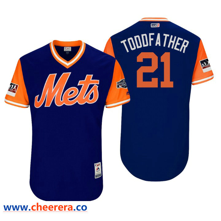 Men's New York Mets Little League Classic Patch Todd Frazier #21 Royal 2018 LLWS Players Weekend Toddfather Jersey