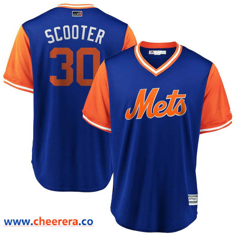 Men's New York Mets Michael Conforto Scooter Majestic Royal Orange 2018 Players' Weekend Cool Base Jersey