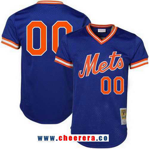 Men's New York Mets Royal Blue Mesh Batting Practice Throwback Majestic Cooperstown Collection Custom Baseball Jersey