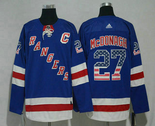 Men's New York Rangers #27 Ryan McDonagh Blue With USA Flag 2017-2018 Hockey Stitched NHL Jersey