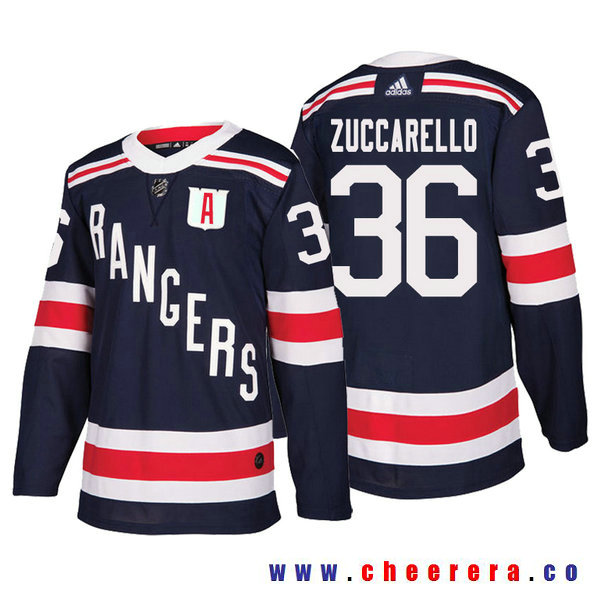 Men's New York Rangers #36 Mats Zuccarello Navy Authentic 2018 Winter Classic Jersey