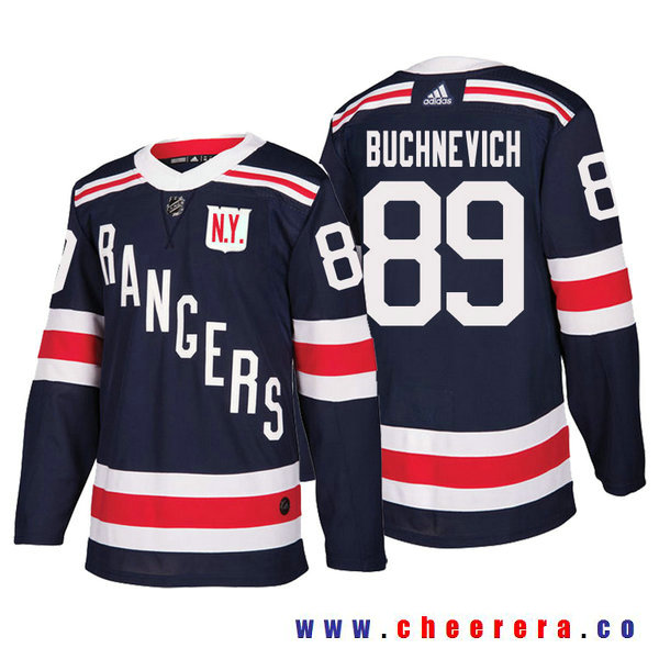Men's New York Rangers #89 Pavel Buchnevich Navy Authentic 2018 Winter Classic Jersey