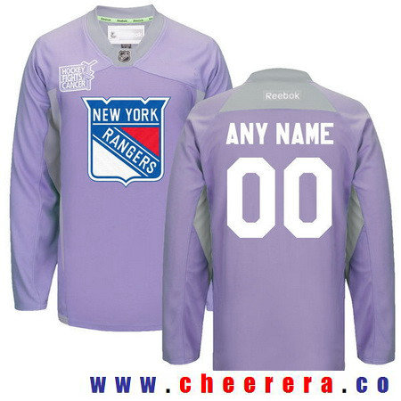 Men's New York Rangers Purple Pink Custom Reebok Hockey Fights Cancer Practice Jersey