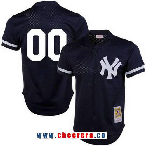 Men's New York Yankees Navy Blue Mesh Batting Practice Throwback Majestic Cooperstown Collection Custom Baseball Jersey