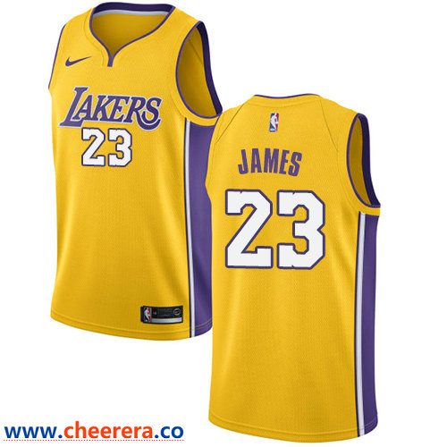 Men's Nike Los Angeles Lakers #23 LeBron James Gold NBA Swingman Icon Edition Jersey