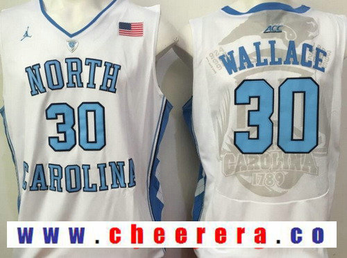 Men's North Carolina Tar Heels #30 Rasheed Wallace White College Basketball 2017 Brand Jordan Swingman Stitched NCAA Jersey