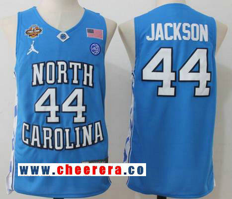 Men's North Carolina Tar Heels #44 Justin Jackson Light Blue Final Four Patch College Basketball 2017 Brand Jordan Swingman Stitched NCAA Jersey