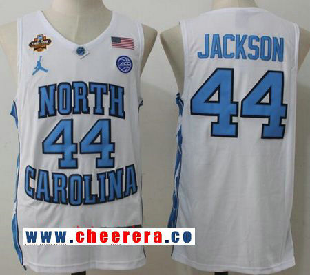 Men's North Carolina Tar Heels #44 Justin Jackson White Final Four Patch College Basketball 2017 Brand Jordan Swingman Stitched NCAA Jersey