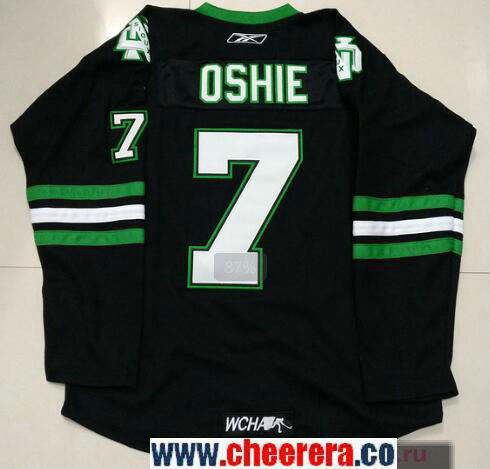 Men's North Dakota Fighting Sioux #7 T.J. Oshie Black Stitched College Ice Hockey Jersey
