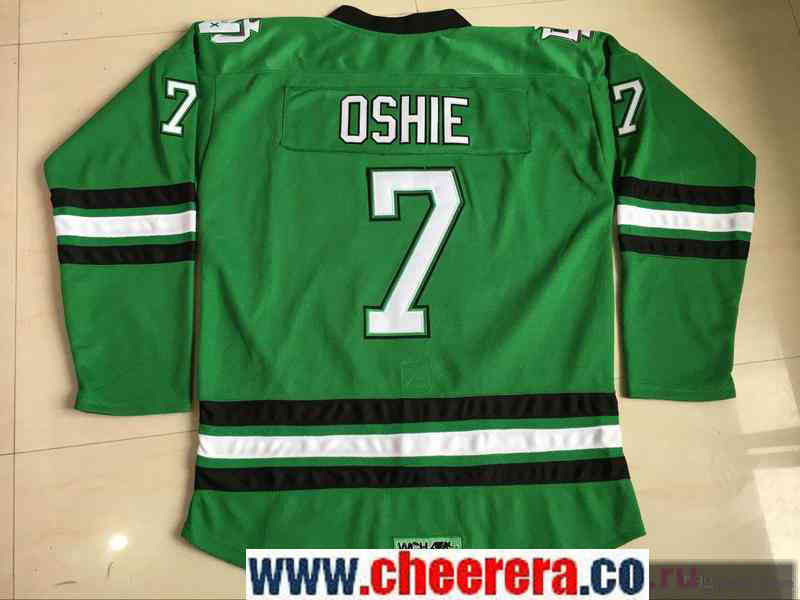 Men's North Dakota Fighting Sioux #7 T.J. Oshie Green Stitched College Ice Hockey Jersey