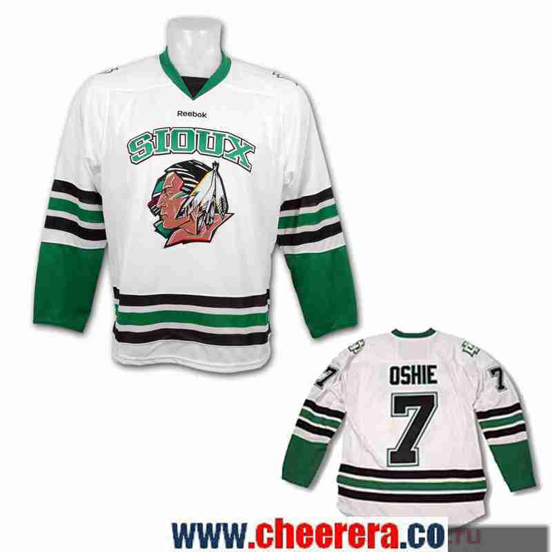 Men's North Dakota Fighting Sioux #7 T.J. Oshie White Stitched College Ice Hockey Jersey