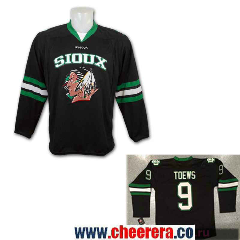 Men's North Dakota Fighting Sioux #9 Jonathan Toews Black Stitched College Ice Hockey Jersey