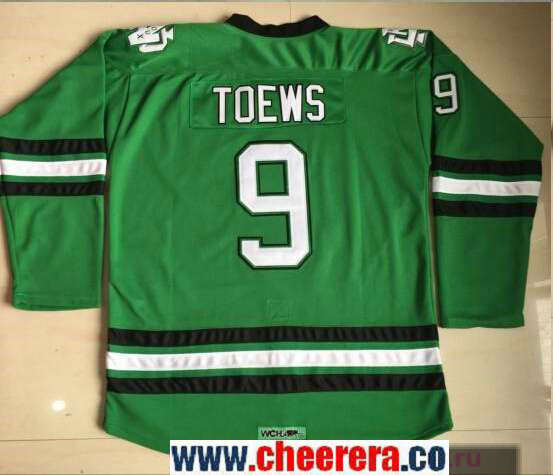 Men's North Dakota Fighting Sioux #9 Jonathan Toews Green Stitched College Ice Hockey Jersey