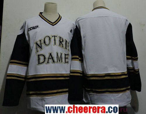 Men's Notre Dame Fighting Irish Bauer Blank adidas White Colleage Ice Hockey Stitched NHL Jersey