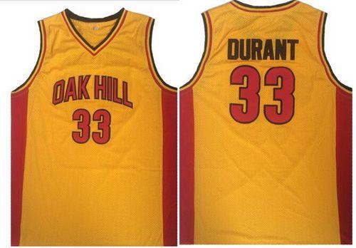 Men's Oak Hill Academy High School #33 Kevin Durant Yellow Soul Swingman Basketball Jersey
