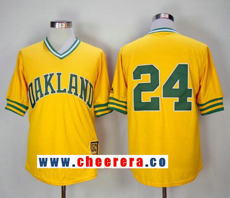 Men's Oakland Athletics #24 Rickey Henderson Yellow Pullover 1981 Throwback Cooperstown Collection Stitched MLB Mitchell & Ness Jersey