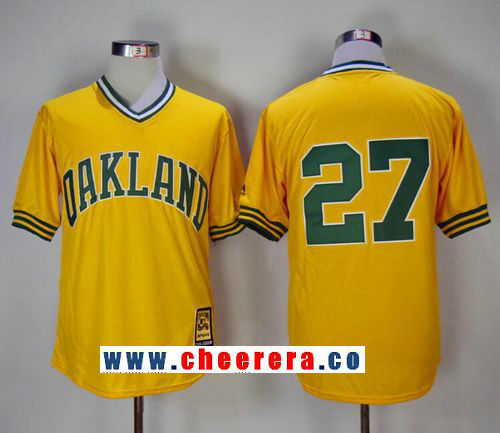 Men's Oakland Athletics #27 Catfish Hunter Yellow Pullover 1981 Throwback Cooperstown Collection Stitched MLB Mitchell & Ness Jersey