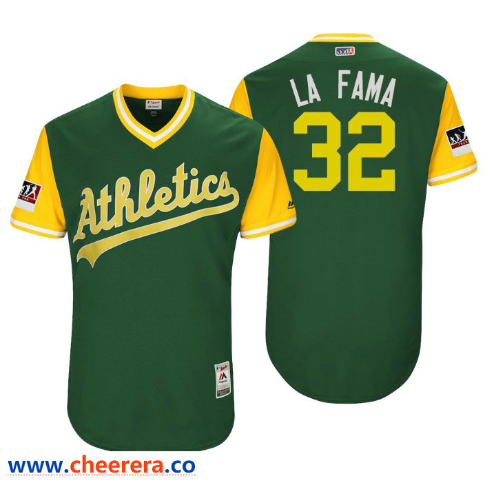 Men's Oakland Athletics Authentic Jeurys Familia #32 Green 2018 LLWS Players Weekend La Fama Jersey