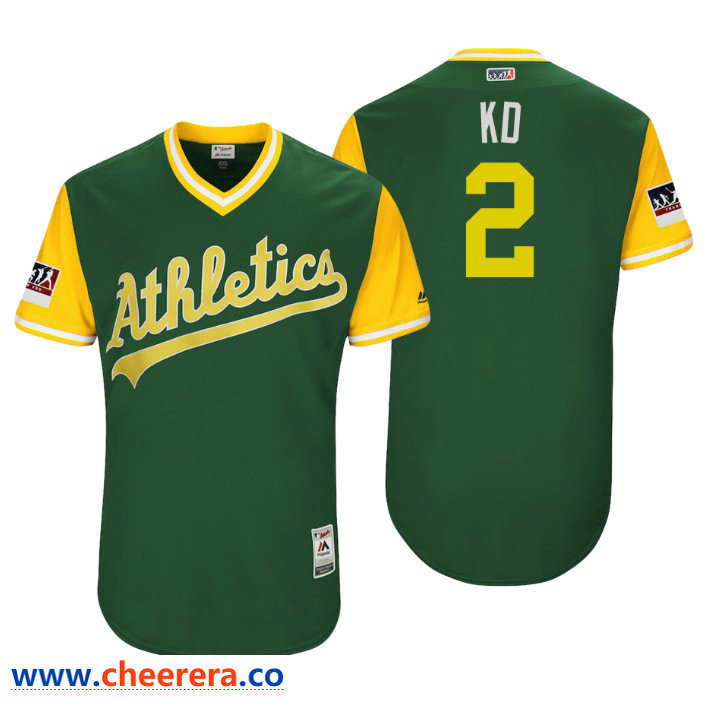 Men's Oakland Athletics Authentic Khris Davis #2 Green 2018 LLWS Players Weekend KD Jersey