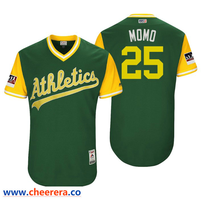 Men's Oakland Athletics Authentic Stephen Piscotty #25 Green 2018 LLWS Players Weekend Momo Jersey