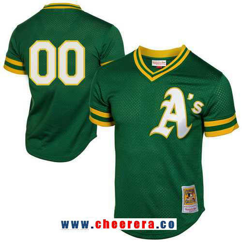Men's Oakland Athletics Green 1991 Mesh Batting Practice Throwback Majestic Cooperstown Collection Custom Baseball Jersey