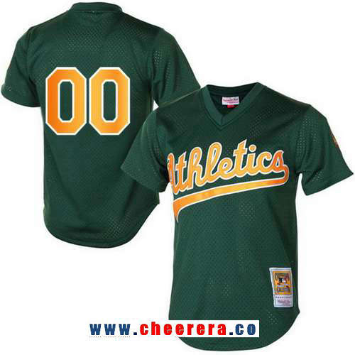Men's Oakland Athletics Green 1998 Mesh Batting Practice Throwback Majestic Cooperstown Collection Custom Baseball Jersey