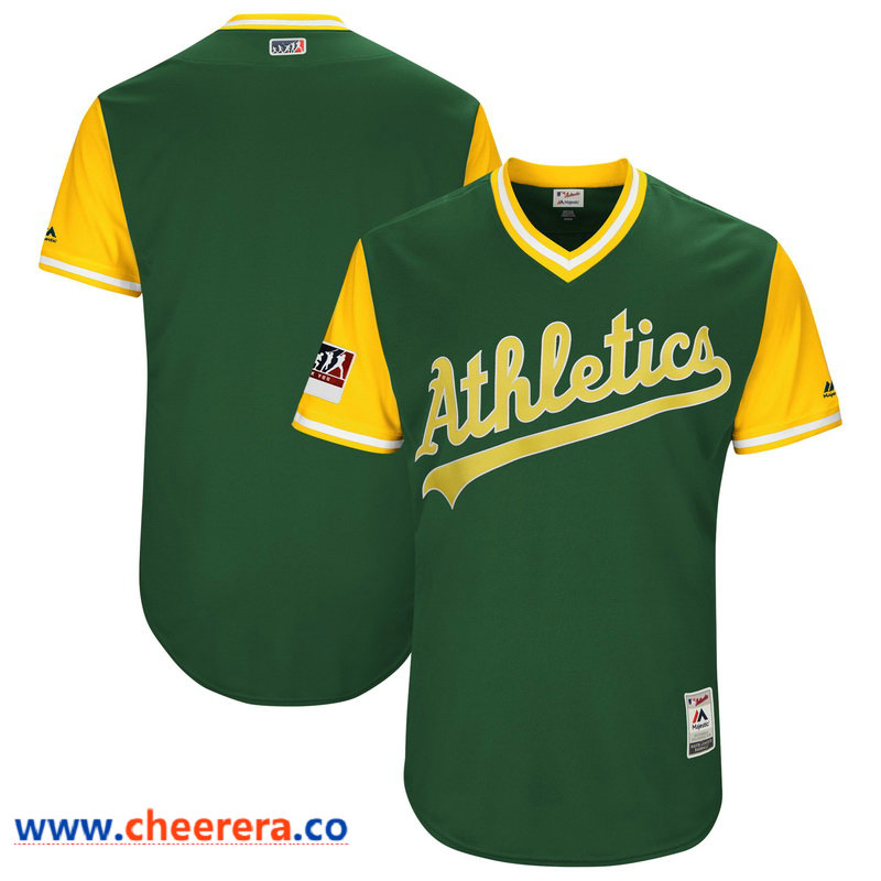 Men's Oakland Athletics Majestic Green-Yellow 2018 Players' Weekend Authentic Team Jersey