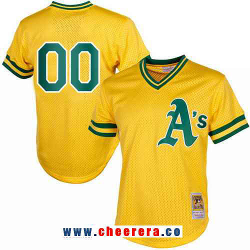 Men's Oakland Athletics Yellow Mesh Batting Practice Throwback Majestic Cooperstown Collection Custom Baseball Jersey