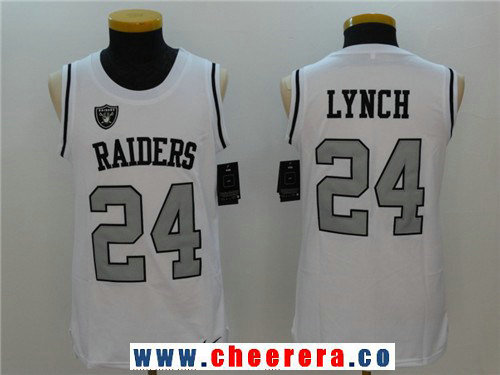 Men's Oakland Raiders #24 Marshawn Lynch White Color Rush 2017 Vest Stitched NFL Nike Tank Top Jersey