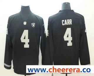 Men's Oakland Raiders #4 Derek Carr Nike Black Therma Long Sleeve Limited Jersey