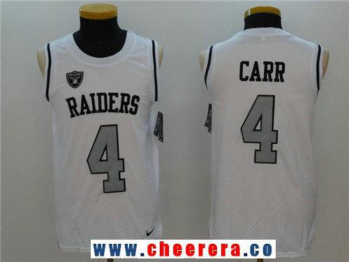 Men's Oakland Raiders #4 Derek Carr White Color Rush 2017 Vest Stitched NFL Nike Tank Top Jersey