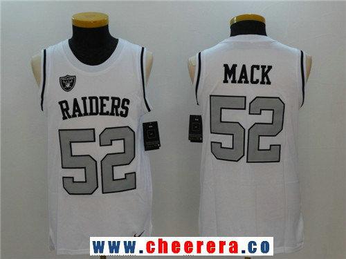 Men's Oakland Raiders #52 Khalil Mack White Color Rush 2017 Vest Stitched NFL Nike Tank Top Jersey