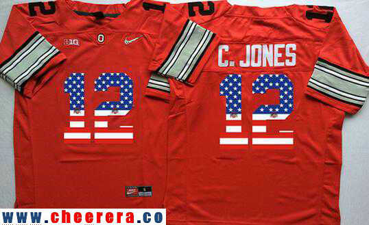 Men's Ohio State Buckeyes #12 Cardale Jones Red Diamond Quest USA Flag Fashion Stitched Nike NCAA Jersey