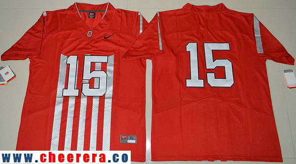 Men's Ohio State Buckeyes #15 Ezekiel Elliott 1917 Throwback Red Limited Stitched College Football Nike NCAA Jersey