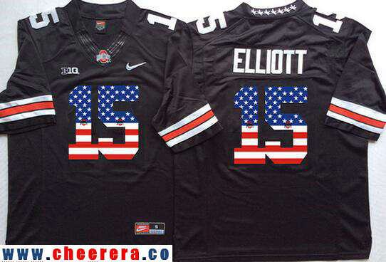 Men's Ohio State Buckeyes #15 Ezekiel Elliott Black USA Flag Fashion Stitched 2015 Nike NCAA Jersey