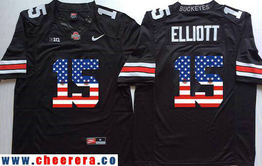 Men's Ohio State Buckeyes #15 Ezekiel Elliott Black USA Flag Fashion Stitched 2016 Nike NCAA Jersey