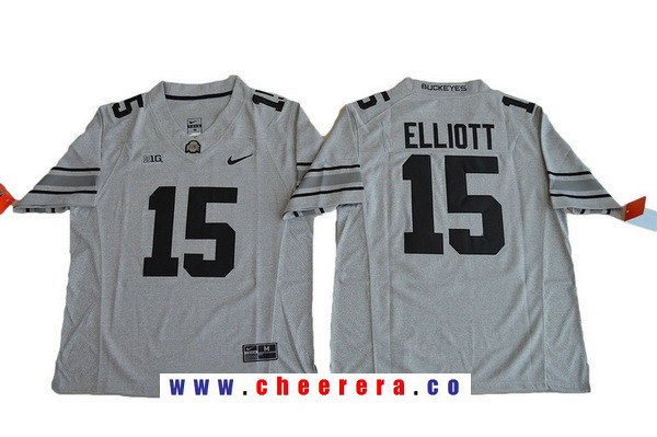 Men's Ohio State Buckeyes #15 Ezekiel Elliott Gridiron Gray II Limited College Football Stitched Nike NCAA Jersey
