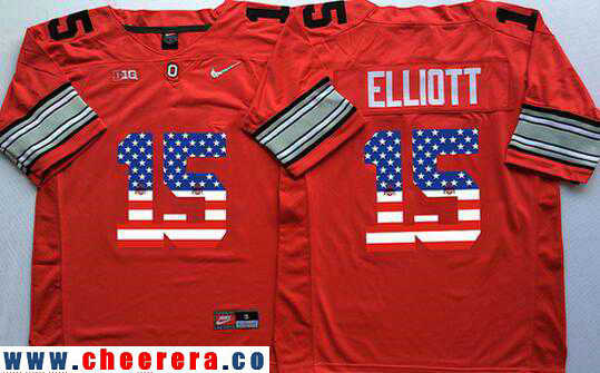 Men's Ohio State Buckeyes #15 Ezekiel Elliott Red Diamond Quest USA Flag Fashion Stitched 2016 Nike NCAA Jersey