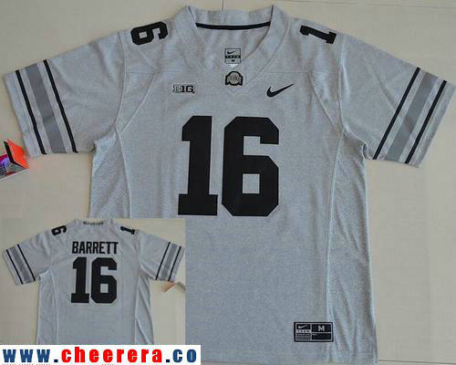 Men's Ohio State Buckeyes #16 J.T. Barrett Gridiron Gray II Limited Stitched College Football Nike NCAA Jersey