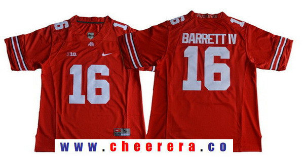 Men's Ohio State Buckeyes #16 J.T. Barrett IV Red Limited Stitched College Football Nike NCAA Jersey