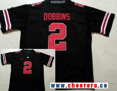 Men's Ohio State Buckeyes #2 J. K. Dobbins Black with Red Limited College Football Stitched Nike NCAA Jersey