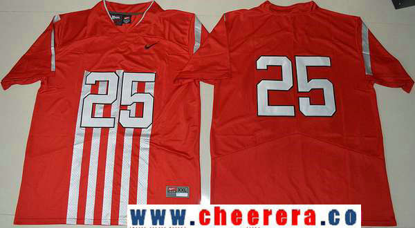 Men's Ohio State Buckeyes #25 Mike Weber Jr.1917 Throwback Red Limited Stitched College Football Nike NCAA Jersey