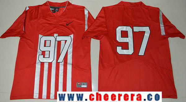 Men's Ohio State Buckeyes #91 Nick Bosa 1917 Throwback Red Limited Stitched College Football Nike NCAA Jersey