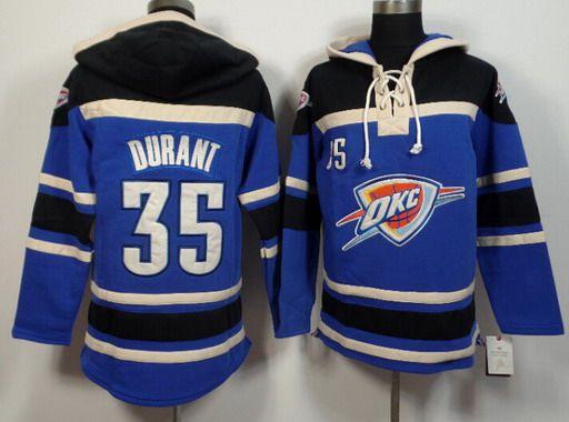 Men's Oklahoma City Thunder #35 Kevin Durant Blue Hoodie